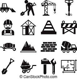 vector, bouwsector, liggen
