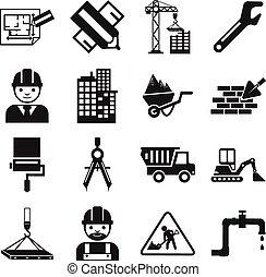 vector, bouwsector, liggen, pictogram
