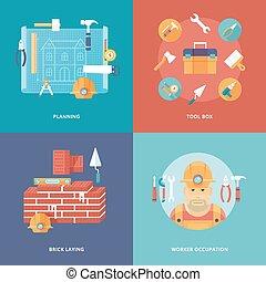 vector, bouwsector, pictogram, set