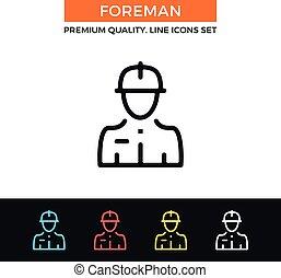 vector, bouwsector, voorman, icon., dune lijn, pictogram