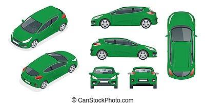 vector, bovenkant, set, sportcar, vehicle., achterkant, het brandmerken, bovenzijde, isometric, vrijstaand, 4x4, achtergrond, mal, auto, advertising., witte , voorkant, of, hatchback, aanzicht