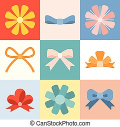 Vector bow and ribbon collection