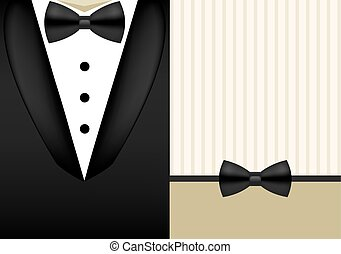Vector bow tie tuxedo invitation design template