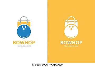 Vector bowling and shop logo combination. Game and sale symbol or icon. Unique kegling and market logotype design template.