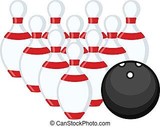 Vector Bowling Ball and Pins