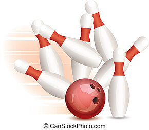vector bowling ball and pins