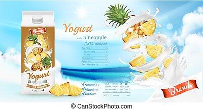 vector, box., advertisment, fruta, diseño, piña, yogur, ...