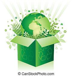 vector box and environment sign - green box and earth...