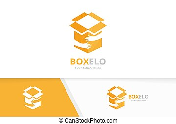 Vector box and hands logo combination. Package and embrace symbol or icon. Unique delivery and team, friendship logotype design template.