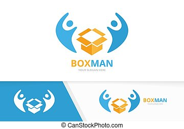 Vector box and people logo combination. Package and family symbol or icon. Unique delivery and union, help, connect, team logotype design template.