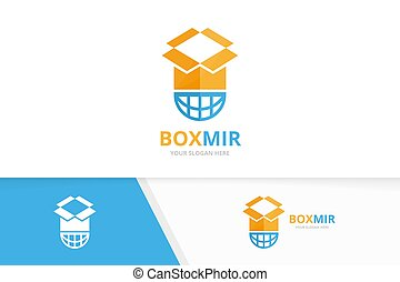 Vector box and planet logo combination. Package and world symbol or icon. Unique delivery and globe logotype design template.