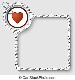 vector box for any text with heart and paper clip