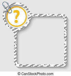vector box for any text with question mark and paper clip