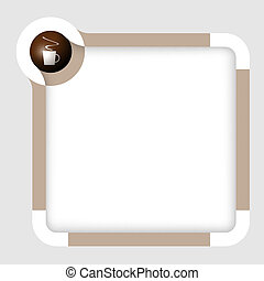 vector box for text with cup of coffee