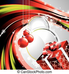 vector, box., illustratie, cadeau, kerstmis