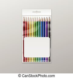 Vector Box of Colored Pencils Isolated on Background - Box...