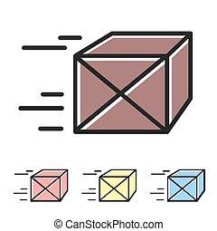 vector, box., pakket, eenvoudig, verwant, aflevering, kleur, set, icons., lijn, icon.
