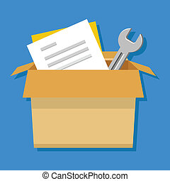 Vector Box with Tools and Documents