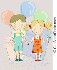 vector boy and girl holding hands with balloons and presents at the background