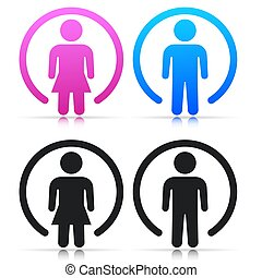 Vector boy and girl signs