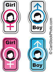 vector boy girl toilet stickers