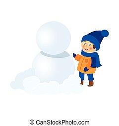 vector boy having fun making snowman isolated