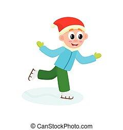 vector boy having fun racing skates isolated