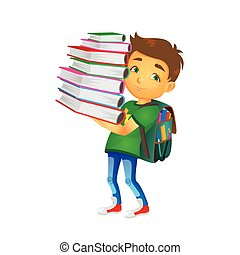 vector boy holding big pile of school books