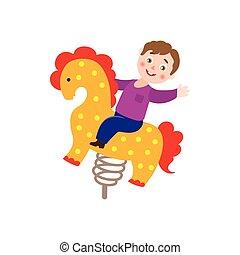vector boy kid having fun at spring seesaw horse