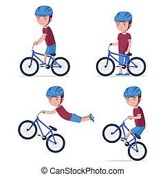 Vector boy riding a bmx bike