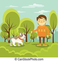 Vector boy with dog