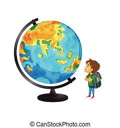 vector boy with schoolbag looks at big globe