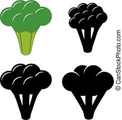 vector, bróculi, símbolos