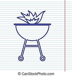 vector., brûler, signe., papier cahier, field., fond, marine, barbecue, ligne, rouges, icône