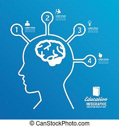 vector brain design diagram line infographics options banner.can