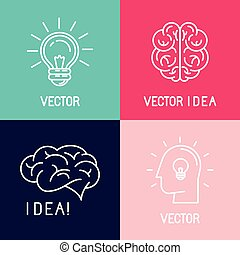 Vector brain logo design elements