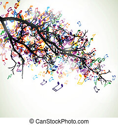 Vector Branch with Colorful Music Notes