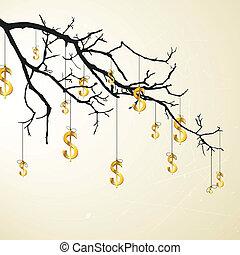 Vector branch with golden dollars