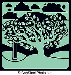 Vector branchy tree with swing on beautiful cloudy spring ...