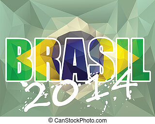 Vector - Brasil 2014 Letters with Brazilian Flag