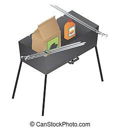 Vector brazier, liquid fire and coal illustration