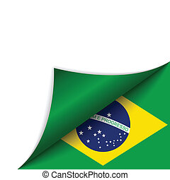 Brazil Country Flag Turning Page - Vector - Brazil Country...