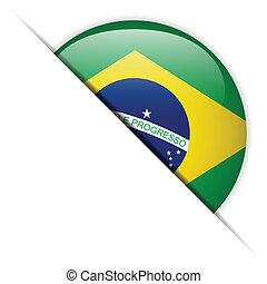 Brazil Flag Glossy Button