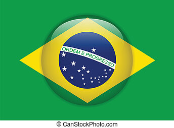 Brazil Flag Glossy Button