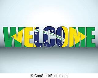 Brazil Flag Welcome Soccer Letters Background - Vector -...