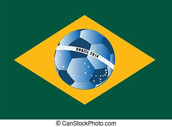 vector Brazil flag with ball