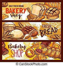 Vector bread sketch for bakery shop
