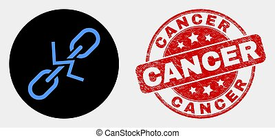 Vector Break Chain Icon and Scratched Cancer Seal