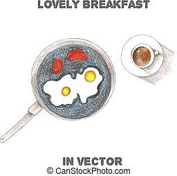 Vector breakfast by color pencils