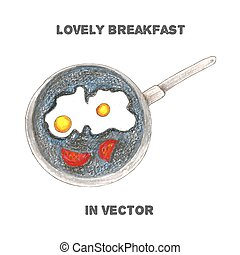 breakfast by color pencils